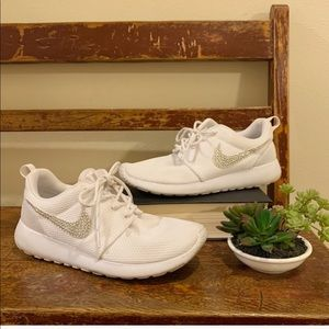 Nike White crystal Rhinestone Roshe shoes